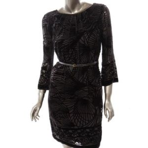 STUDIO M  Black Velvet Pleated A Line Dress